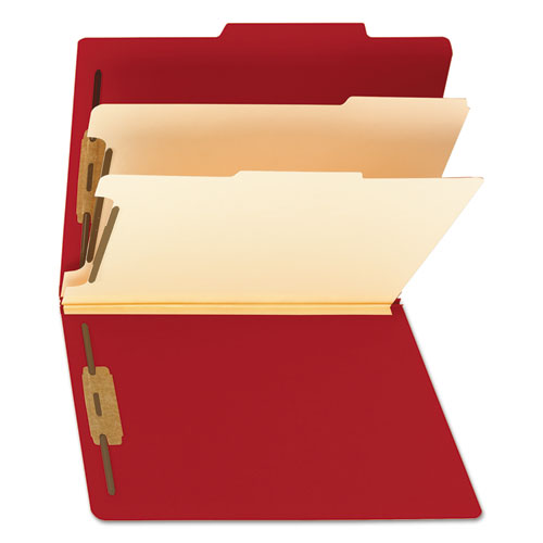 Colored Top Tab Classification Folders, 2 Dividers, Letter Size, Red, 10/Box. Picture 7