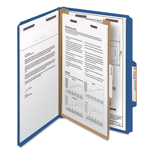Four-Section Pressboard Top Tab Classification Folders with SafeSHIELD Fasteners, 1 Divider, Legal Size, Dark Blue, 10/Box. Picture 7