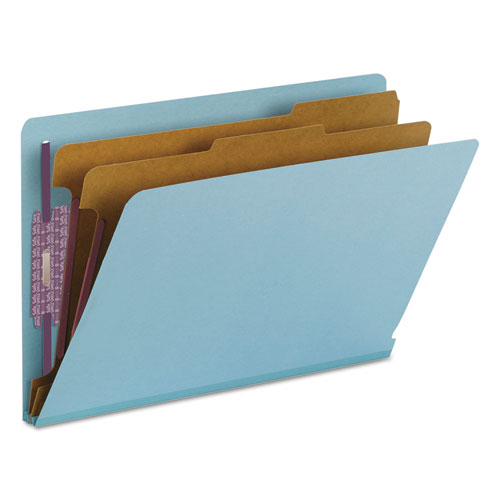 End Tab Colored Pressboard Classification Folders with SafeSHIELD Coated Fasteners, 2 Dividers, Legal Size, Blue, 10/Box. Picture 8