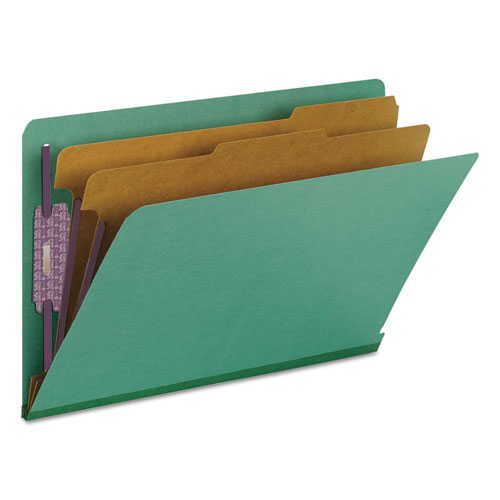End Tab Colored Pressboard Classification Folders with SafeSHIELD Coated Fasteners, 2 Dividers, Legal Size, Green, 10/Box. Picture 8