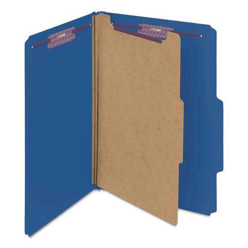 Four-Section Pressboard Top Tab Classification Folders with SafeSHIELD Fasteners, 1 Divider, Legal Size, Dark Blue, 10/Box. Picture 8