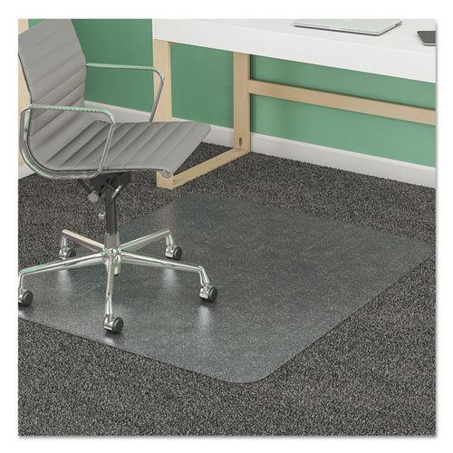 SuperMat Frequent Use Chair Mat, Med Pile Carpet, 45 x 53, Beveled Rectangle, Clear. Picture 10