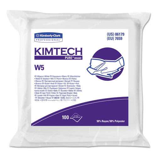 W5 Critical Task Wipers, Flat Double Bag, Spunlace, 9x9, White, 100/Pk, 5/Carton. Picture 1