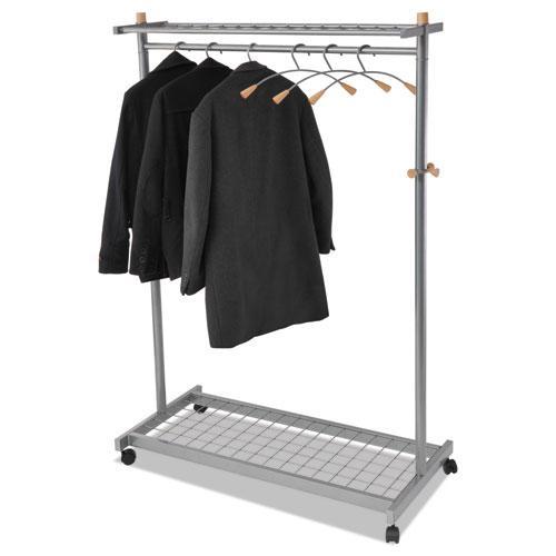 Garment Racks, Two-Sided, 2-Shelf Coat Rack, 6 Hanger/6 Hook, 44.8w x 21.67d x 70.8h, Silver Steel/Wood. Picture 4