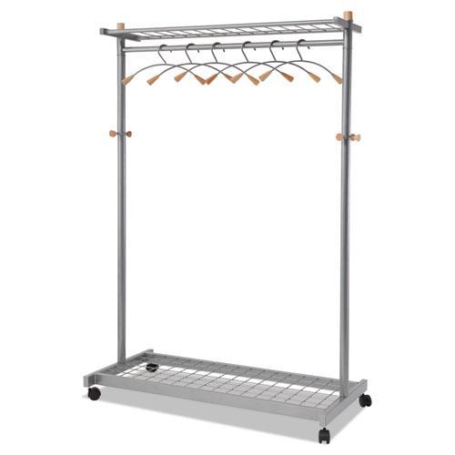 Garment Racks, Two-Sided, 2-Shelf Coat Rack, 6 Hanger/6 Hook, 44.8w x 21.67d x 70.8h, Silver Steel/Wood. Picture 1