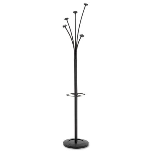 Festival Coat Stand with Umbrella Holder, 5 Knobs, 14w x 14d x 73.67h, Black. Picture 1