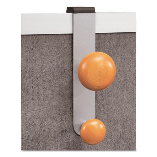 Cubicle Garment Peg, 2-Hook, 1 1/5 x 1 3/8 x 7 9/10, Metallic Gray. Picture 5