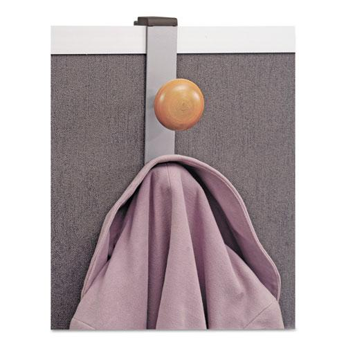 Cubicle Garment Peg, 2-Hook, 1 1/5 x 1 3/8 x 7 9/10, Metallic Gray. Picture 2