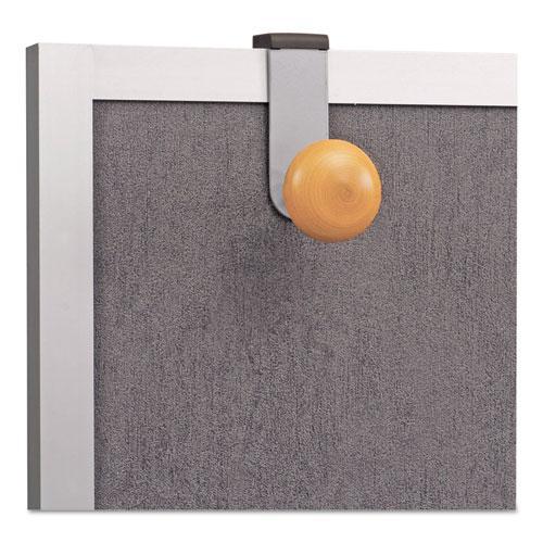 Cubicle Garment Peg, 1 Hook, 1 1/5 x 1 3/8 x 4 3/10, Metallic Gray. Picture 3