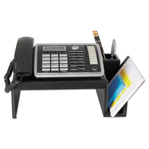 Wood Tones Phone Center Desk Stand, 12 1/8 x 10, Black. Picture 4