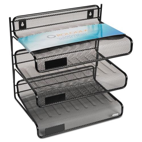 Mesh Three-Tier Letter Size Desk Shelf, 10 x 7 x 9 3/8, Black. Picture 3