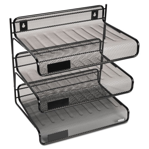 Mesh Three-Tier Letter Size Desk Shelf, 10 x 7 x 9 3/8, Black. Picture 1