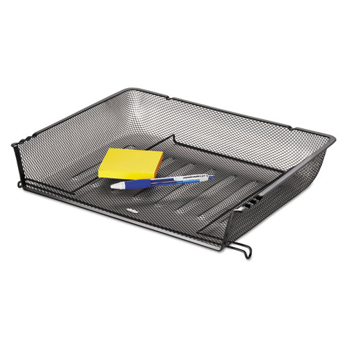"""Mesh Stacking Side Load Tray, 1 Section, Letter Size Files, 14.25"""" x 10.13"""" x 2.75"""", Black. Picture 3"""