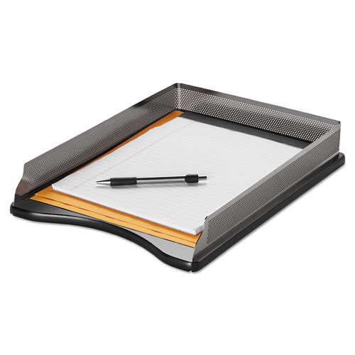"Distinctions Desk Tray, 1 Section, Legal Size Files, 8.5"" x 14"", Black/Silver. Picture 2"