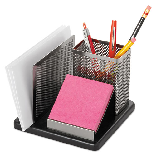 Distinctions Desk Organizer, 5 7/8 x 5 7/8 x 4 1/2, Metal/Black. Picture 2