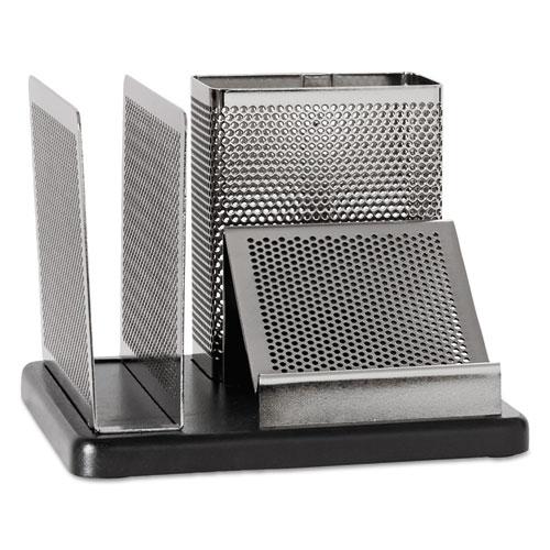 Distinctions Desk Organizer, 5 7/8 x 5 7/8 x 4 1/2, Metal/Black. Picture 1