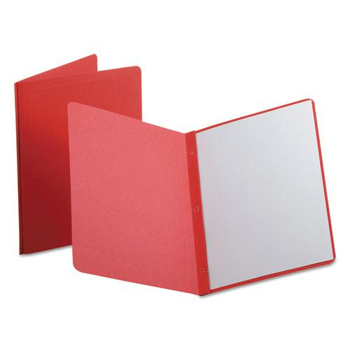 Report Cover, 3 Fasteners, Panel and Border Cover, Letter, Red, 25/Box. Picture 1