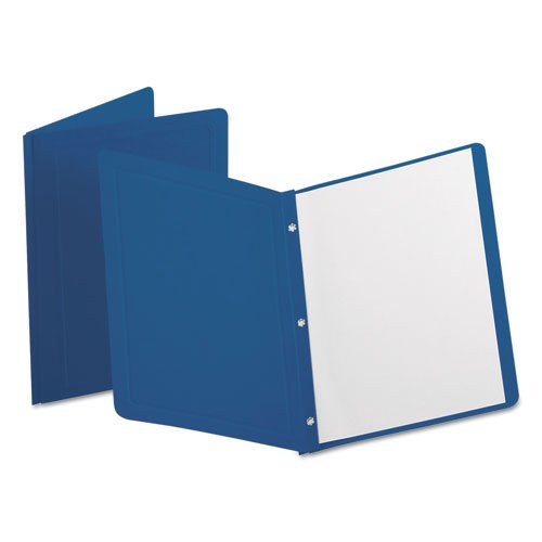 """Title Panel and Border Front Report Cover, Three-Prong Fastener, 0.5"""" Capacity, Dark Blue/Dark Blue, 25/Box. Picture 1"""