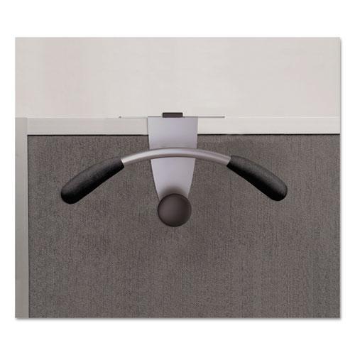 Hanger Shaped Partition Coat Hook, Silver/Black, 15 x 4 1/2 x 7 7/8. Picture 6