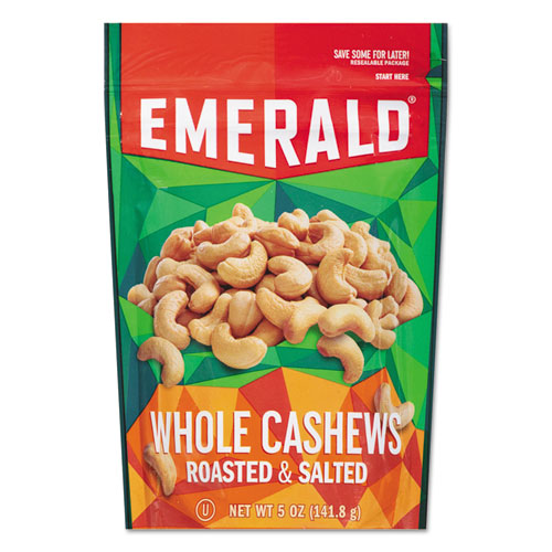 Roasted and Salted Cashew Nuts, 5 oz Pack, 6/Carton. Picture 1