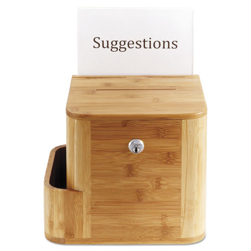 Bamboo Suggestion Box, 10 x 8 x 14, Natural. Picture 4