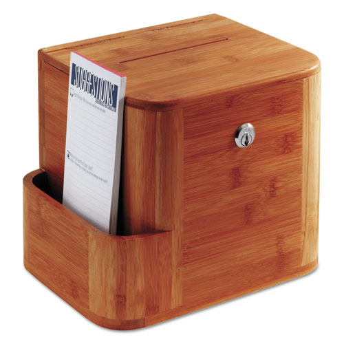 Bamboo Suggestion Box, 10 x 8 x 14, Cherry. Picture 2