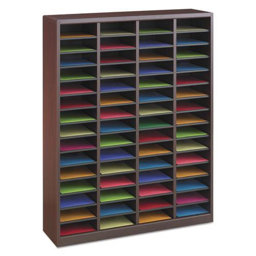 Wood/Fiberboard E-Z Stor Sorter, 60 Slots, 40x11 3/4x52 1/4, Mahogany, 2 Boxes. Picture 2