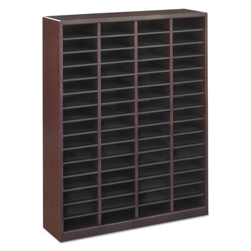 Wood/Fiberboard E-Z Stor Sorter, 60 Slots, 40x11 3/4x52 1/4, Mahogany, 2 Boxes. Picture 5
