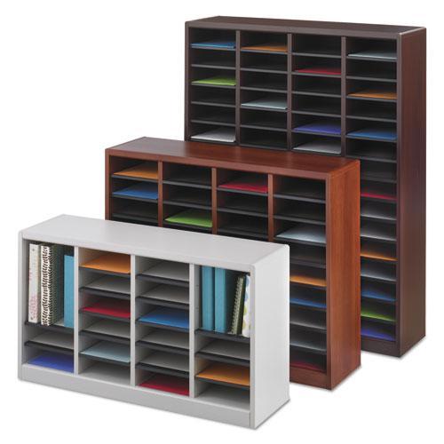 Wood/Fiberboard E-Z Stor Sorter, 60 Slots, 40x11 3/4x52 1/4, Mahogany, 2 Boxes. Picture 6