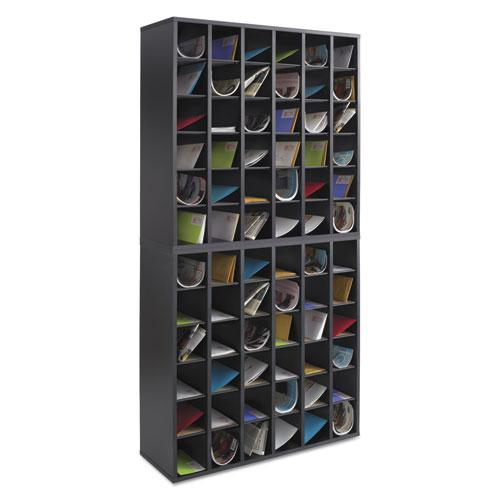 Wood Mail Sorter with Adjustable Dividers, Stackable, 36 Compartments, Black. Picture 2