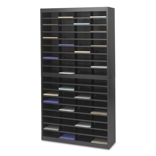 Steel/Fiberboard E-Z Stor Sorter, 72 Sections, 37 1/2 x 12 3/4 x 71, Black. Picture 3