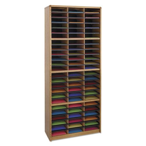Steel/Fiberboard Literature Sorter, 72 Sections, 32 1/4 x 13 1/2 x 75, Med Oak. Picture 3