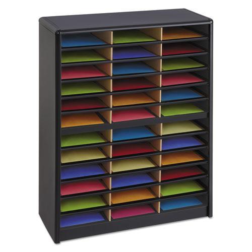 Steel/Fiberboard Literature Sorter, 36 Sections, 32 1/4 x 13 1/2 x 38, Black. Picture 3