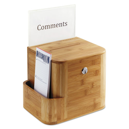 Bamboo Suggestion Box, 10 x 8 x 14, Natural. Picture 3
