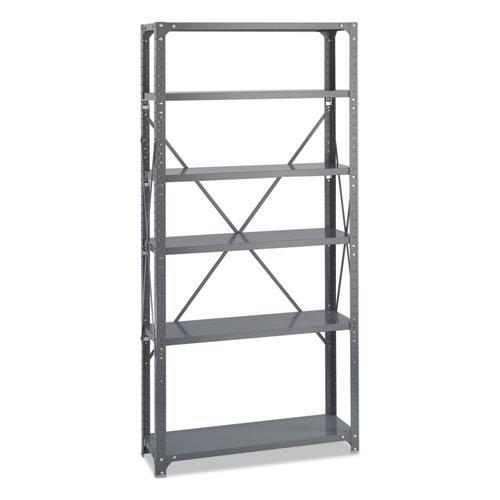 Commercial Steel Shelving Unit, Six-Shelf, 36w x 12d x 75h, Dark Gray. Picture 2