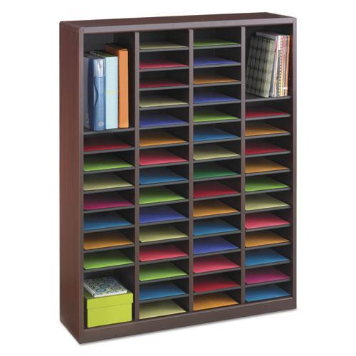 Wood/Fiberboard E-Z Stor Sorter, 60 Slots, 40x11 3/4x52 1/4, Mahogany, 2 Boxes. Picture 3
