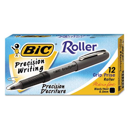 Roller Glide Roller Ball Pen, Fine 0.7mm, Black Ink, Gray Barrel, Dozen. Picture 2