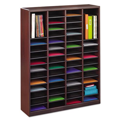 Wood/Fiberboard E-Z Stor Sorter, 60 Slots, 40x11 3/4x52 1/4, Mahogany, 2 Boxes. Picture 4