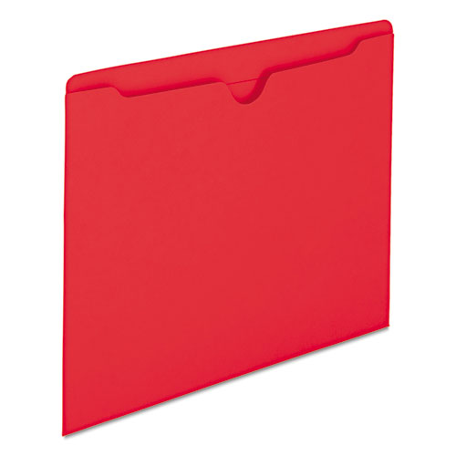 Colored File Jackets with Reinforced Double-Ply Tab, Straight Tab, Letter Size, Red, 100/Box. Picture 4