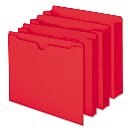 Colored File Jackets with Reinforced Double-Ply Tab, Straight Tab, Letter Size, Red, 100/Box. Picture 3