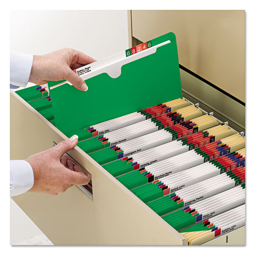 Colored File Jackets with Reinforced Double-Ply Tab, Straight Tab, Letter Size, Green, 100/Box. Picture 3