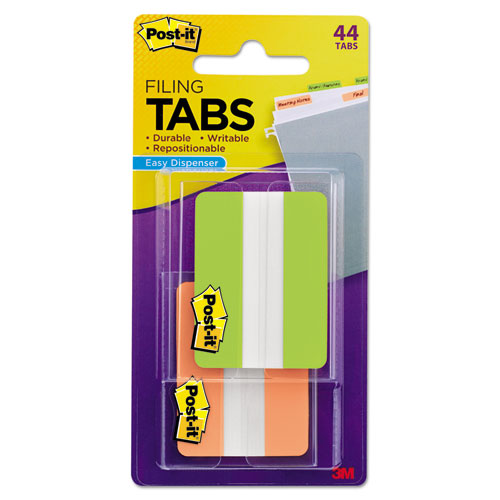"""2"""" and 3"""" Tabs, 1/5-Cut Tabs, Assorted Colors, 2"""" Wide, 44/Pack. Picture 1"""