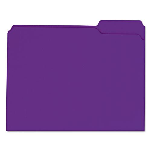 Reinforced Top-Tab File Folders, 1/3-Cut Tabs, Letter Size, Violet, 100/Box. Picture 1