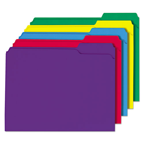 Reinforced Top-Tab File Folders, 1/3-Cut Tabs, Letter Size, Assorted, 100/Box. Picture 1