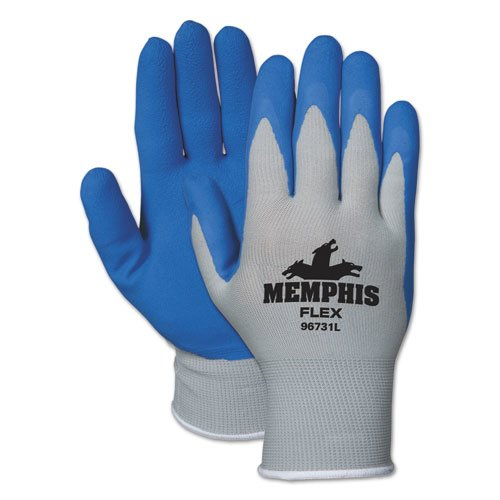 Memphis Flex Seamless Nylon Knit Gloves, Medium, Blue/Gray, Pair. Picture 1