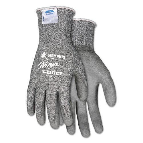 Ninja Force Polyurethane Coated Gloves, X-Large, Gray, Pair. Picture 1
