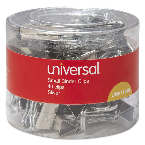 Binder Clips in Dispenser Tub, Small, Silver, 40/Pack. Picture 2