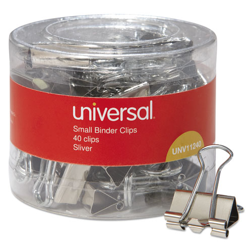 Binder Clips in Dispenser Tub, Small, Silver, 40/Pack. Picture 1