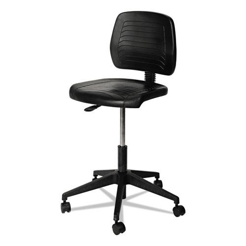 "Alera WL Series Workbench Stool, 25"" Seat Height, Supports up to 250 lbs., Black Seat/Black Back, Black Base. Picture 2"
