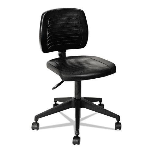 "Alera WL Series Workbench Stool, 25"" Seat Height, Supports up to 250 lbs., Black Seat/Black Back, Black Base. Picture 4"